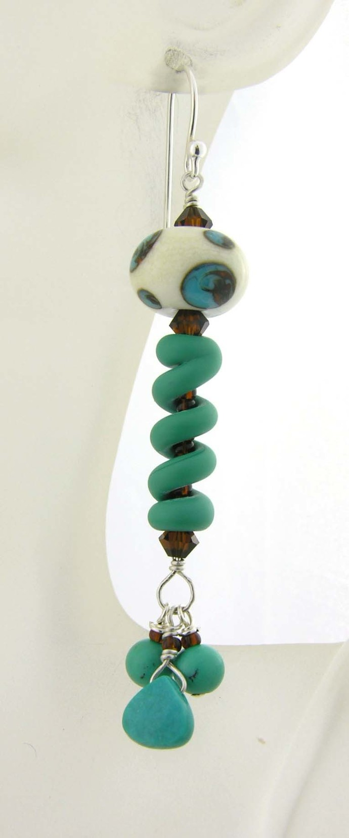 Dots and Spirals Earrings - turquoise, artisan lampwork, sterling silver,