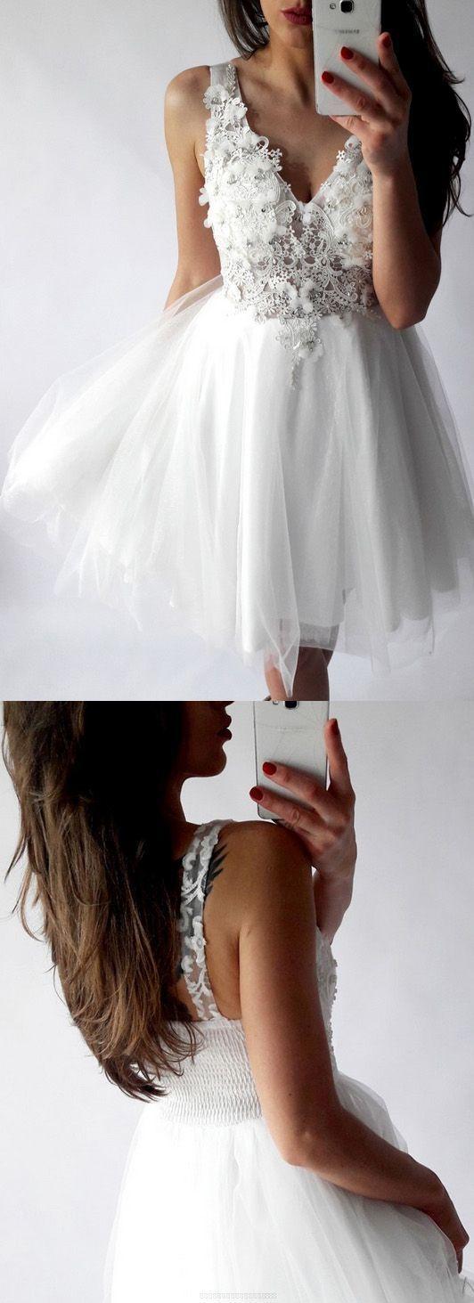 White Prom Dresses, Short Prom Dresses, White Sexy Homecoming Dress, V-neck