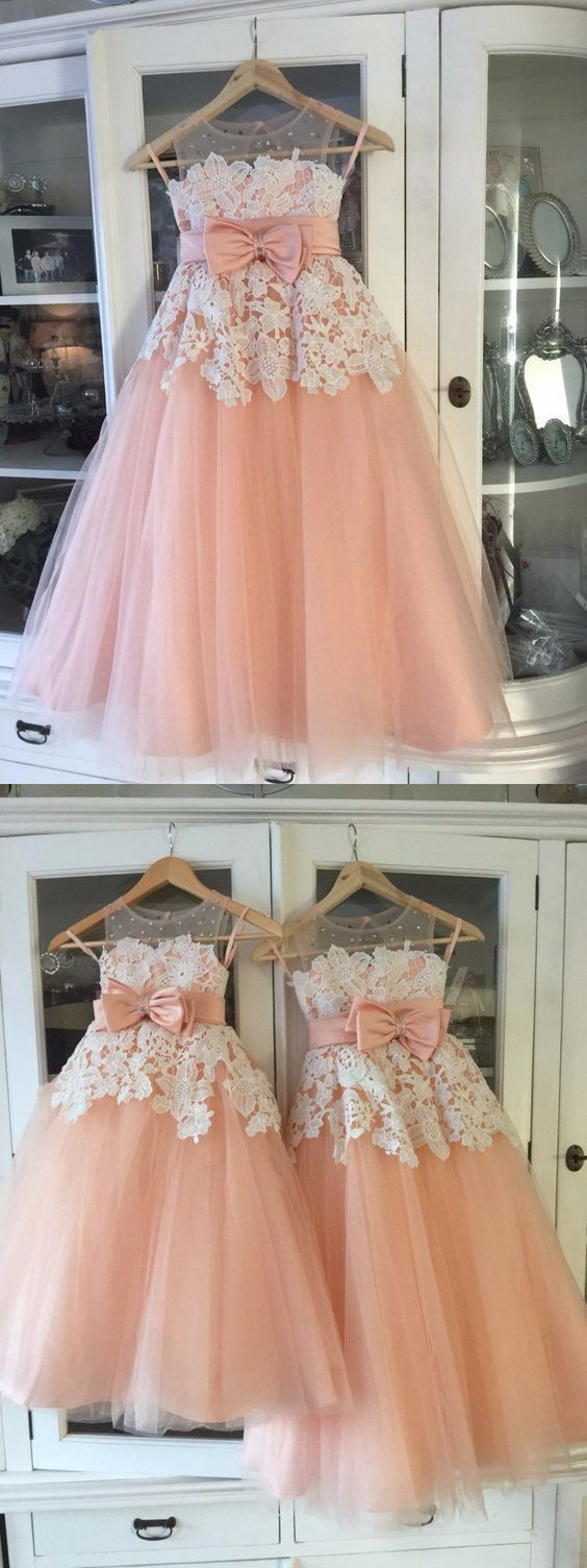 3def9fd92cd A-Line Round Neck Blush Tulle Flower Girl Dress with Appliques Beading