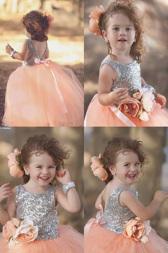 Cute silver sequins coral flower girl dresses with by hiprom on zibbet cute silver sequins coral flower girl dresses with bowknot mightylinksfo