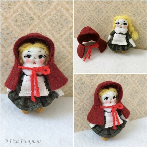 Little Red Riding Hood Doll, Handmade Cloth Doll, Tiny Little Red Riding Hood,