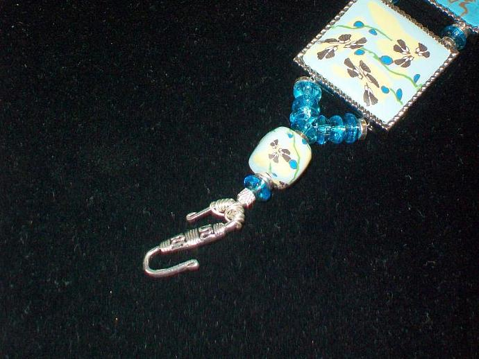 Handmade Bracelet with Turquoise Asian Motif Tiles, Glass Beads & Silver
