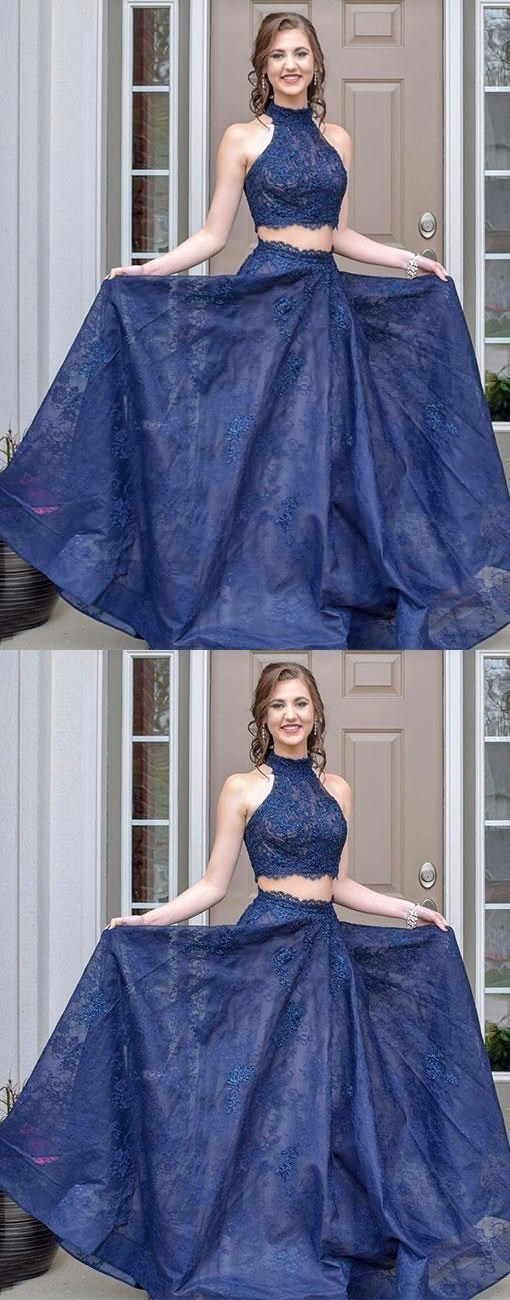 Blue two pieces long prom dress, lace evening dress