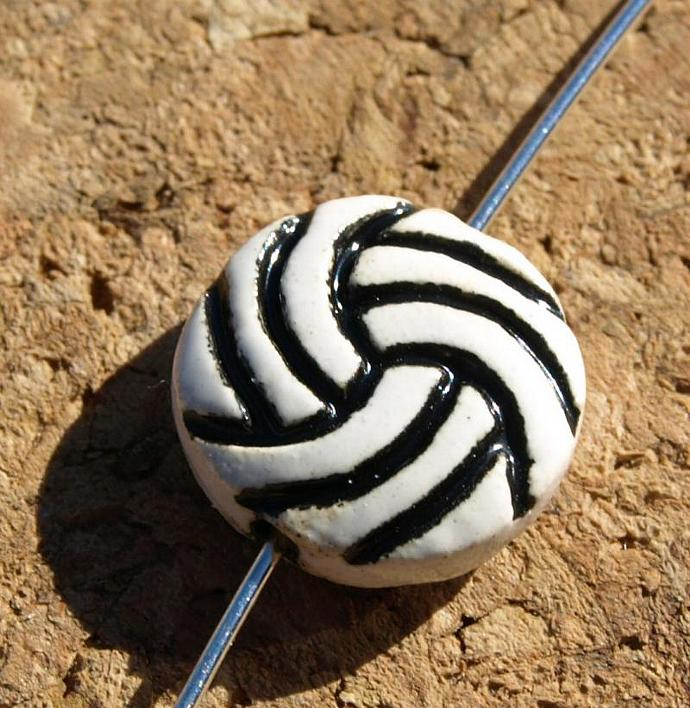 Volleyball Ceramic Beads (11-0084)