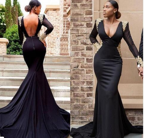 4ec56c60f15d 2018 sexy cheap plus size black girl prom dresses gold lace formal evening  gowns