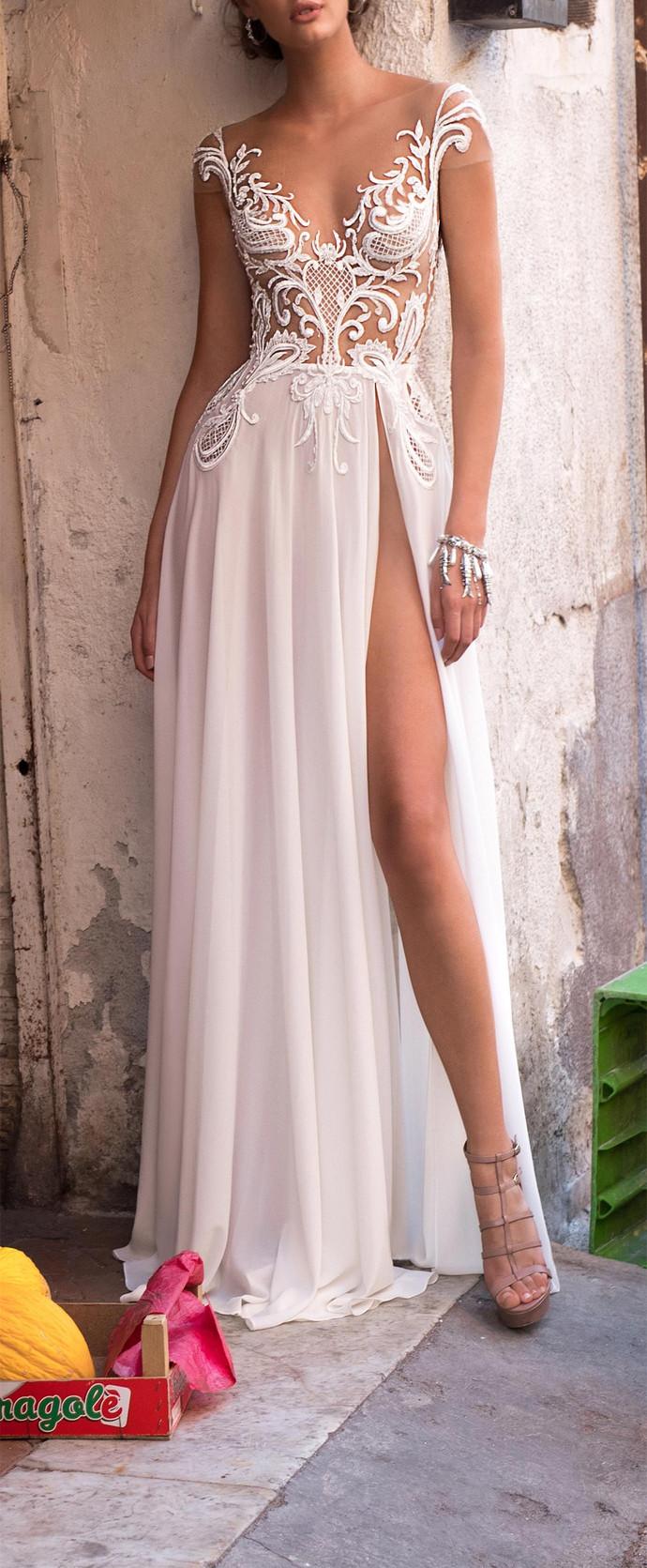 Elegant White Lace Chiffon Wedding Dress,Off by dresses on Zibbet