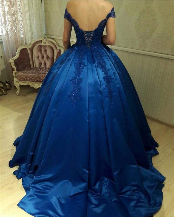 Royal Blue Satin Ball Gowns Quinceanera Dresses V Neck Off-the-shoulder Prom