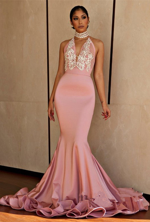 2018 Pink Mermaid Sexy Prom Dress,Beaded Halter Evening Dress,Backless Party
