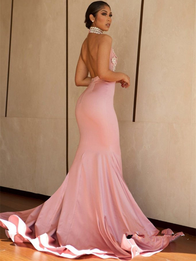Pink Mermaid Sexy Prom Dress,Beaded Halter Evening Dress,Backless Party Dress