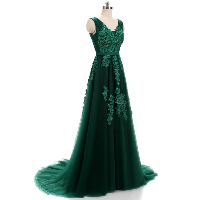 Hunter Green Lace Applique Tulle Prom Dresses Featuring V Neck And Lace-up --