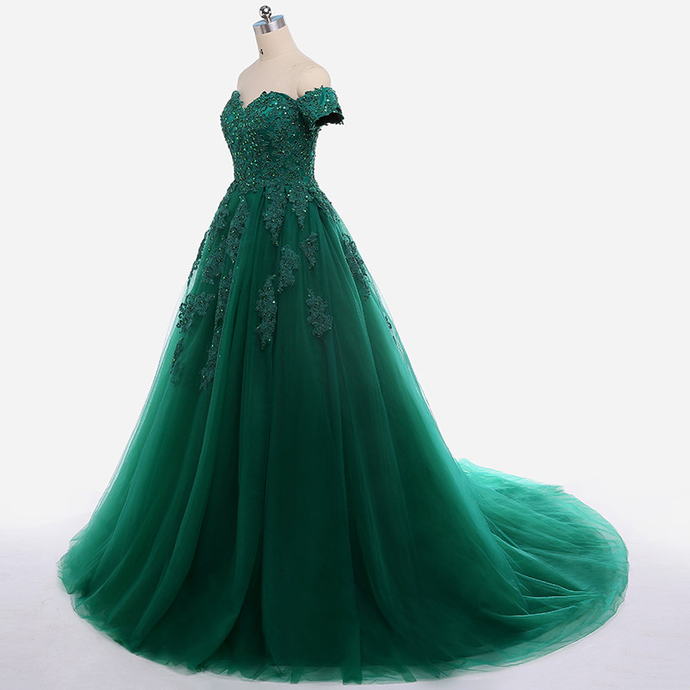 Dark Green Lace Appliques Quinceanera Dresses Short Sleeve Ball Gown For 15 Prom