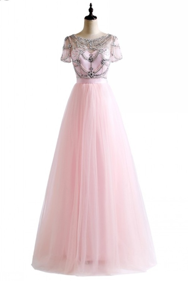 Ball Gown Crystal Beading Pink White Colors Tulle Sexy Backless Beach Prom