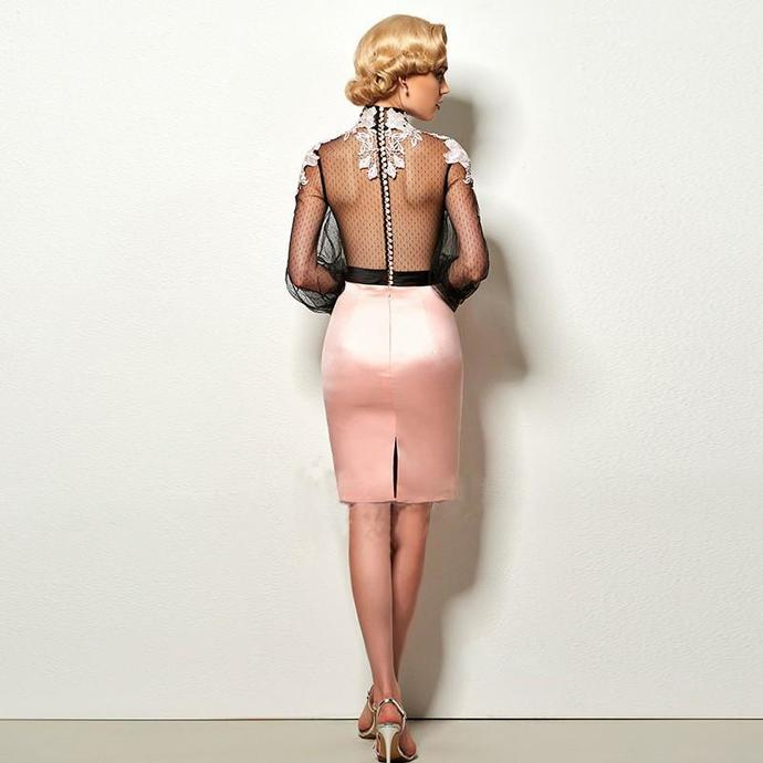 Sheath Prom Dresses, Black Prom Dresses, Short Homecoming Dresses With Applique
