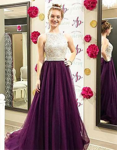 A-line Floor Length Beaded Prom Dress with Brush Train