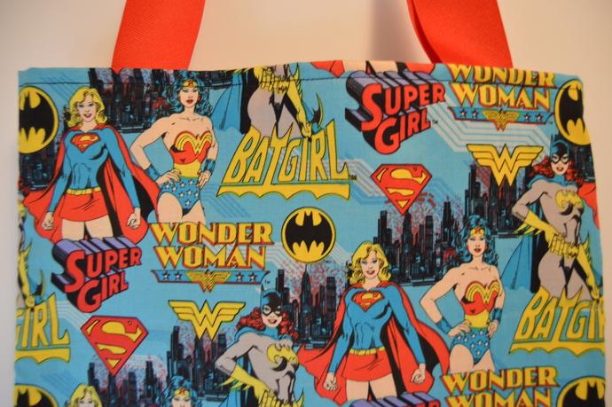 Bat Girl, Super Girl, Wonder Woman tote bag