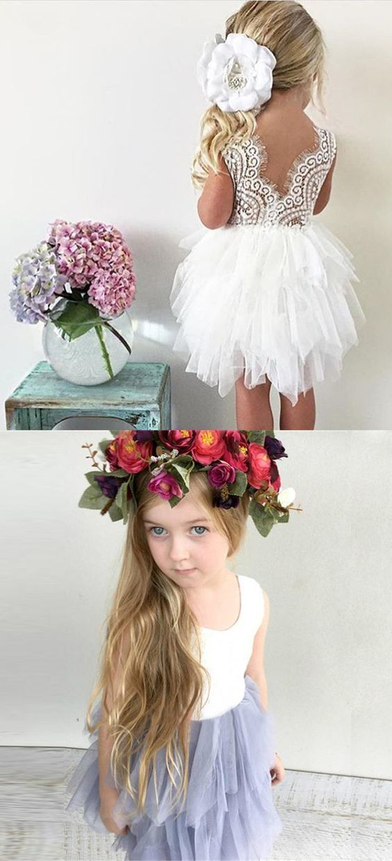f241ef21e3 Ball Gown Round Neck Tiered Tulle Flower Girl Dress by Hiprom on