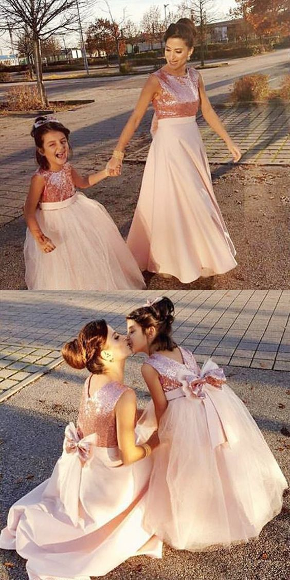 8f973851cb Ball Gown Round Neck Pearl Pink Tulle Flower Girl Dress with Bowknot Sequins