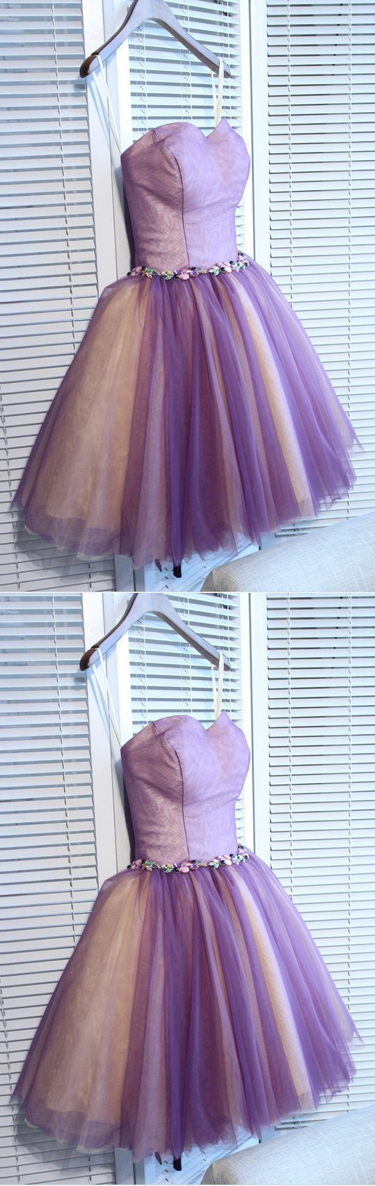 short homecoming dresses,A-line Sweetheart Short Mini Tulle Short Prom Dress