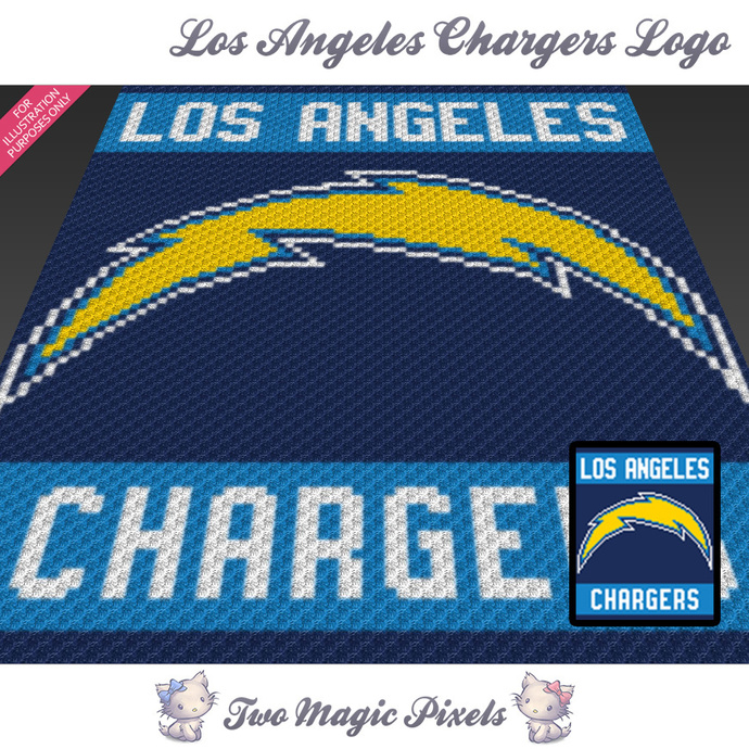 los angeles chargers logo crochet blanket by twomagicpixels on zibbet