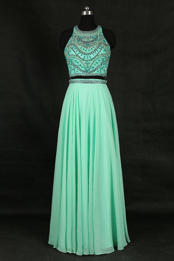 Elegant Mint Green Chiffon Beaded Formal By Prom Dresses On Zibbet