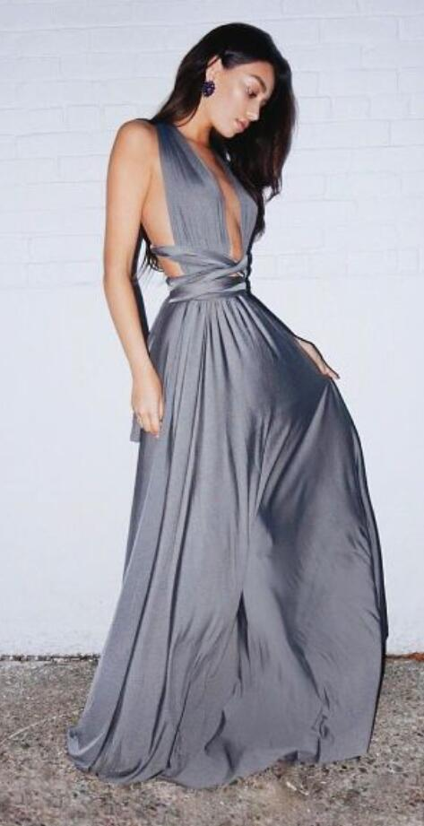 Sexy Backless Prom Dress,Long Prom Dress,Plunging Neck Sexy Prom Dresses ,Cheap