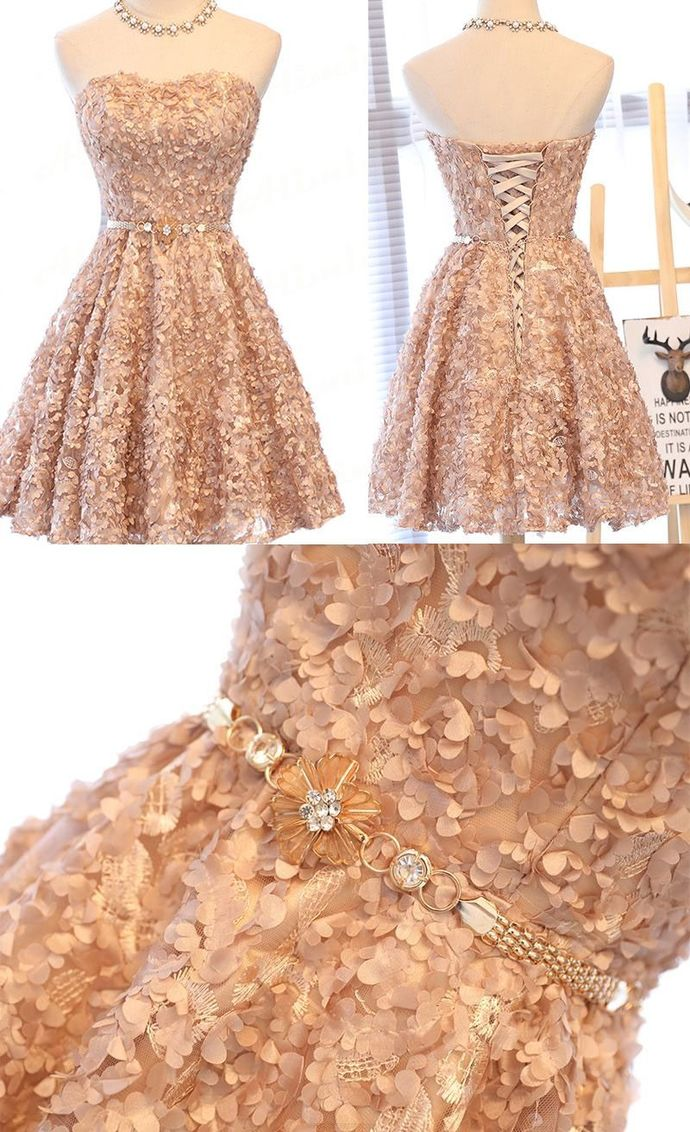 Luxury Appliques Short Homecoming Dress,Sweetheart Beaded Party Dress