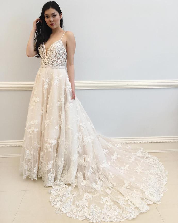 Wedding Dress,Wedding Dresses,Spaghetti Straps Wedding Dresses,Deep V-Neck