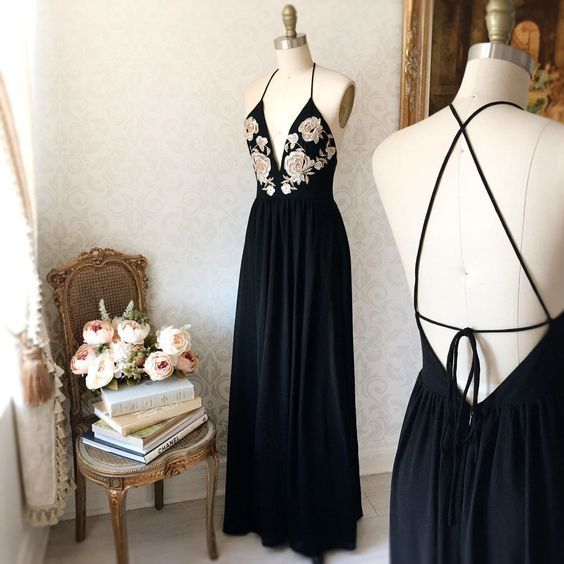 Black Plunging V Floral Embroidered Chiffon Floor-Length Prom Dress, Evening