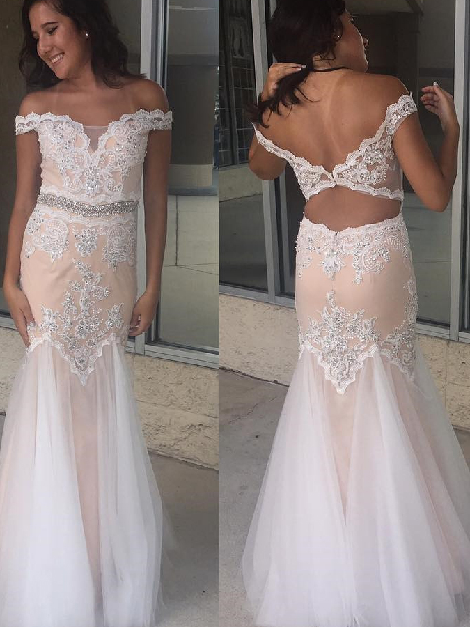 Off-the-shoulder Appliques Sheath Prom Dresses, Sleeveless Sexy Backless Dresses