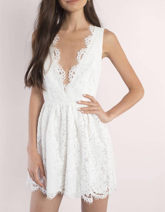 Cute White Lace Homecoming Dress,V-Neck Sexy Party Dress,Sleeveless Mini