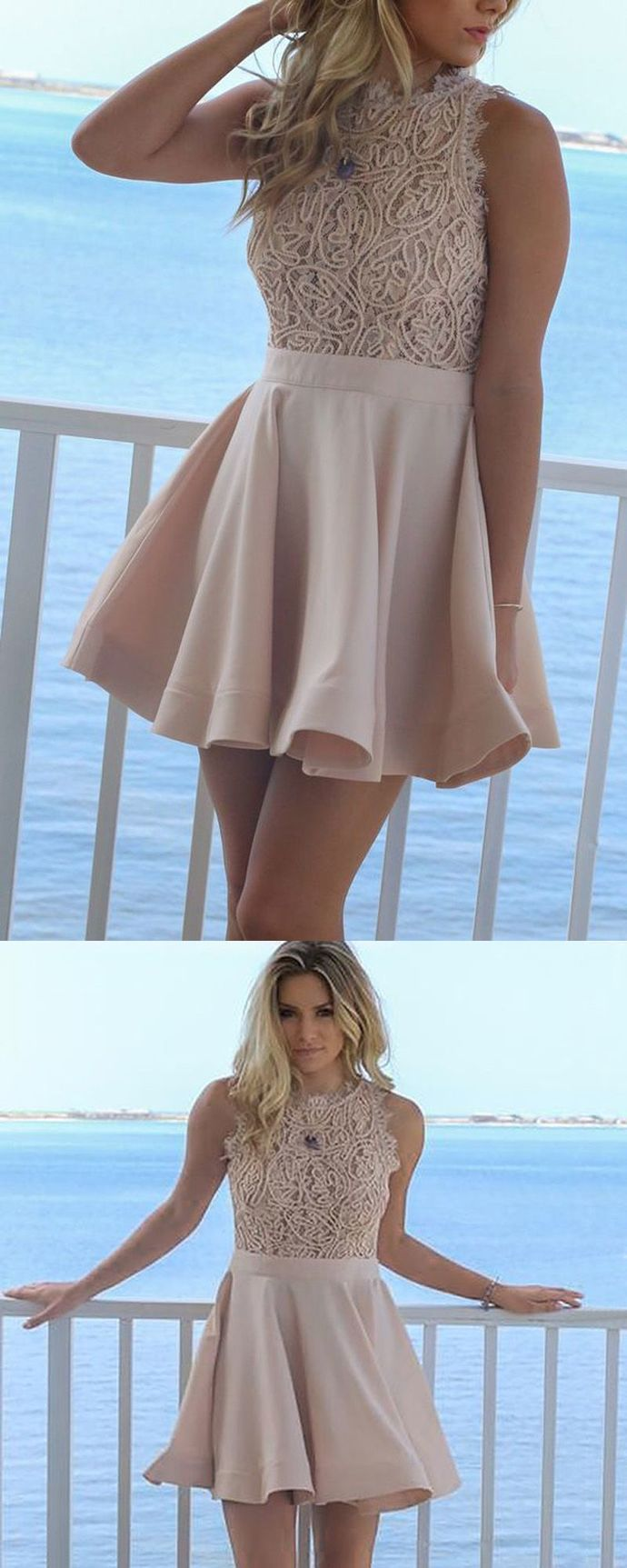 A-Line Round Neck Short Blush Satin Homecoming Dress with Lace