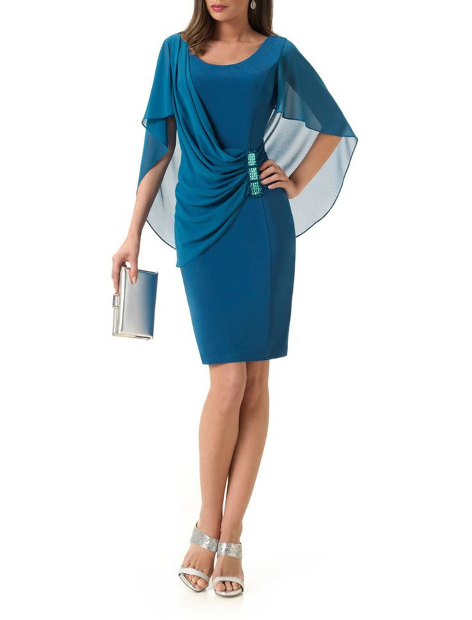 Elegant Blue Party Dress,Sheath Homecoming Dress with Chiffon Cappa