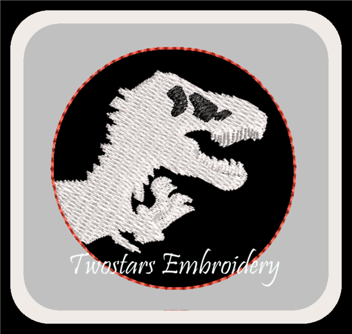T-Rex feltie in sizes 1.5 in and 2 in. Digital embroidery file.