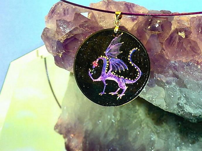 hand painted Amethyst dragon wood pendant with gold bail and purple necklace