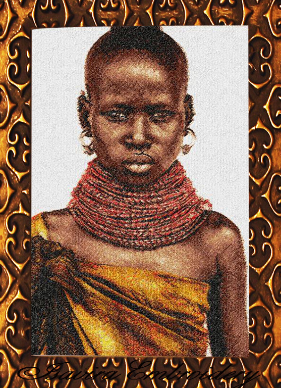 Machine embroidery design 'Black pearl', PhotoStitch, people, Africa