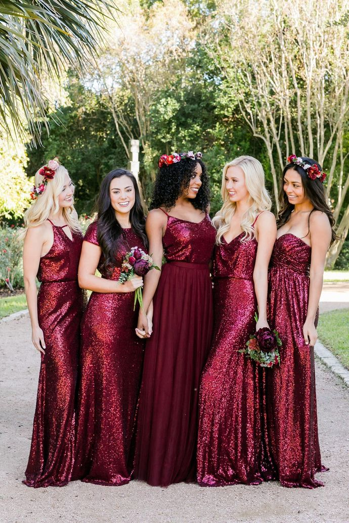 Custom Made Red Sequin Burgundy Mismatched Bridesmaid Dress
