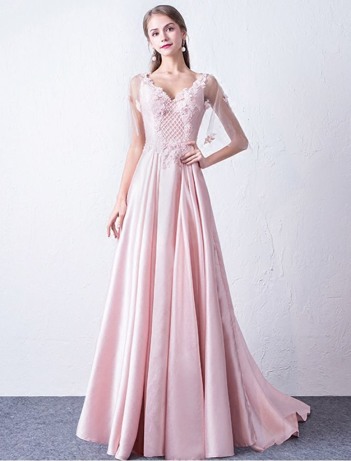 STYLE V NECK FLORAL LONG EVENING DRESS PROM DRESSES