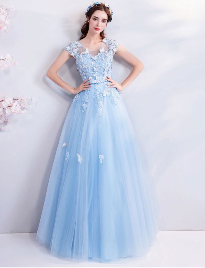 BUTTERFLIES AND BOWS CAP SLEEVES PROM DRESS BALL GOWNS