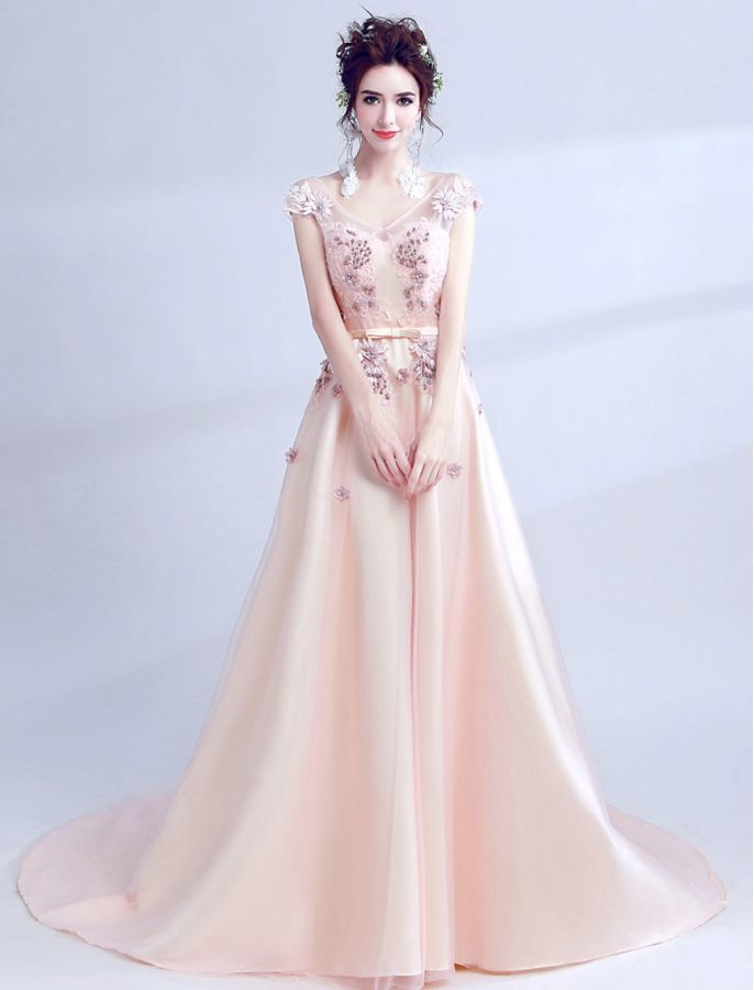 V NECK FLORAL EMBROIDERY EVENING DRESS PROM DRESSES