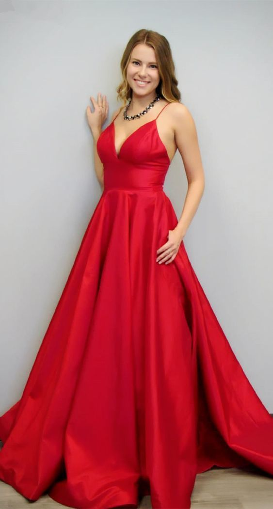 simple A-line red prom dress, spaghetti straps long prom dress evening dresss