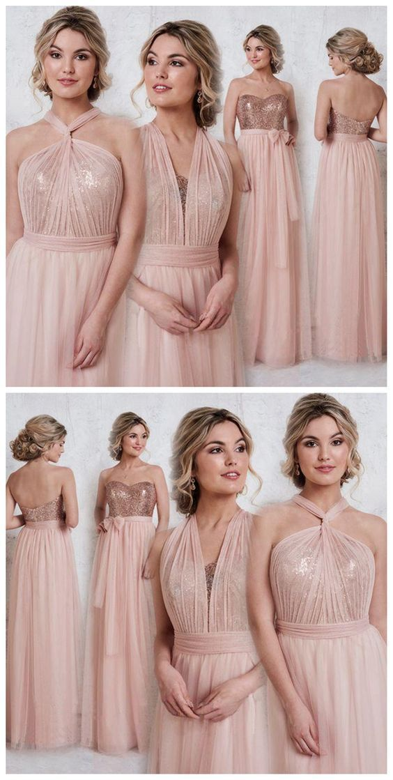 00735a1e999d Rose Gold Sparkly Mismatched Sequin Long Bridesmaid Dresses, Cheap Unique  Custom