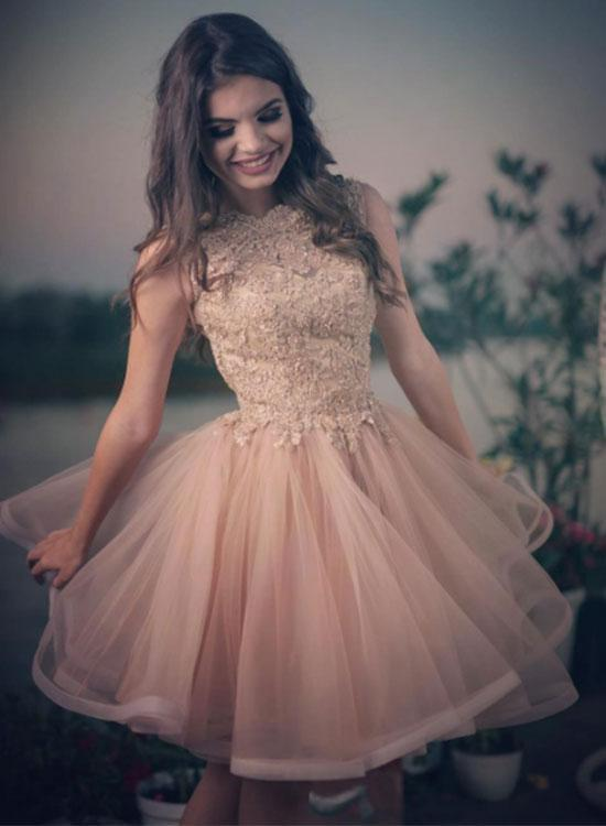 92ce06bef95f Charming pink lace tulle short prom dress, by PrettyLady on Zibbet