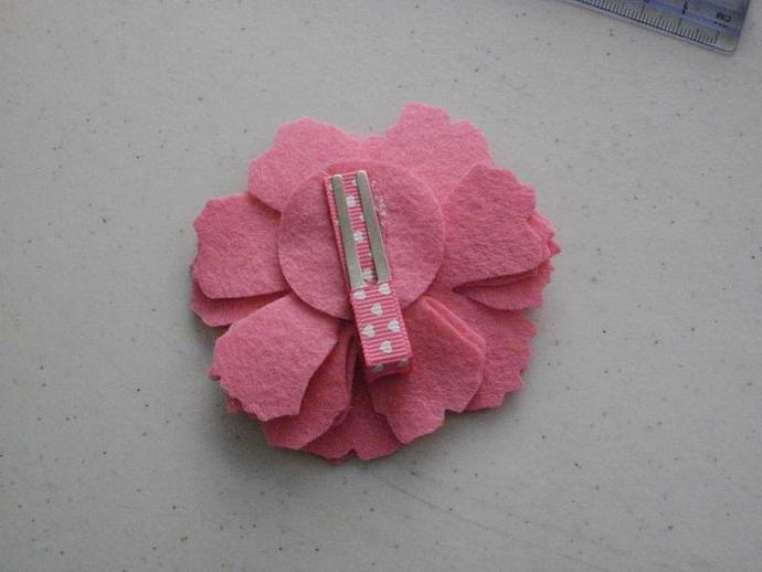 Blinged Wool Felt Flower Clippie
