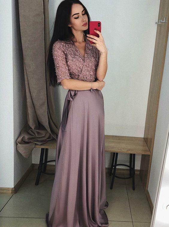 elegant v-neck formal party dresses with half sleeves, chic evening dresses