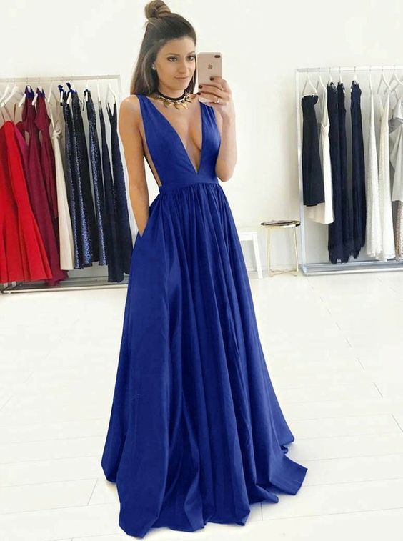 Deep V-neck Fashion Sex Long Prom Dress , Long Winter Formal Dress