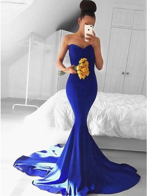 Mermaid Sweetheart Court Train Royal Blue Stretch Satin Prom Dress