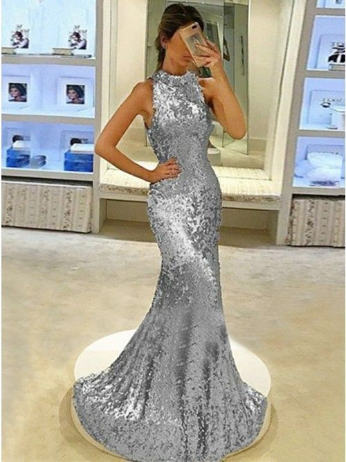 Mermaid High Neck Sweep Train Open Back Gold Sequined Prom Dress