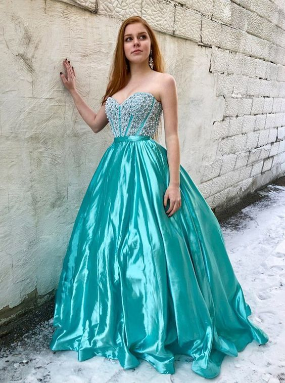 A-Line Sweetheart Sweep Train Turquoise Elastic Satin Prom Dress with Beading