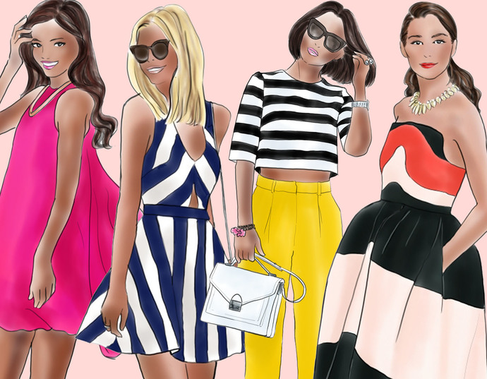 Watercolour fashion illustration clipart - Fashion Girls 15 - Dark Skin