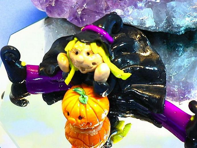 happy Willow Witch polymer clay statue
